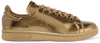 Adidas Originals - + Raf Simons Stan Smith Perforated Metallic Leather Sneakers - Copper $400 thestylecure.com
