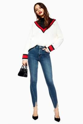 Topshop Mid Blue Tulip Hem Jamie Jeans