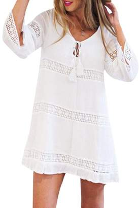 Women Mini Dress, Tenworld Summer 3/4 Sleeves Lace Boho Beach Short Dress (M, )