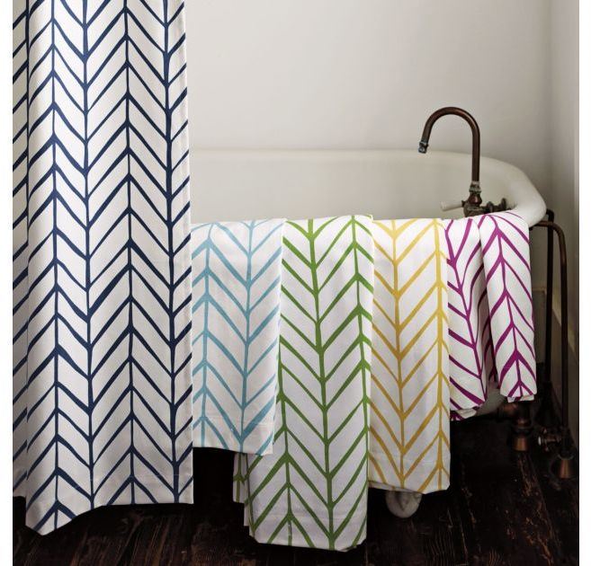 Aqua Feather Shower Curtain