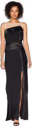 Adrianna Papell Long Jersey Gown with Illusion Neckline and Peplum Women's Dress
