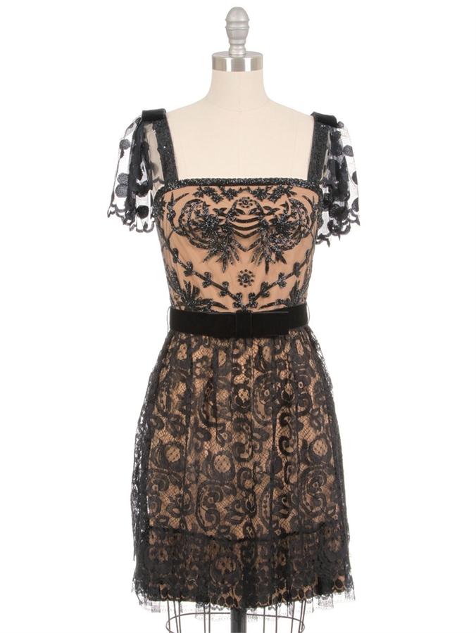 COLLETTE DINNIGAN Beaded Paisley Spot Lace Dress