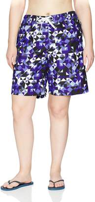 Kanu Surf Women's Plus Size Gillian Upf 50+ Active Geo Swim Boardshort