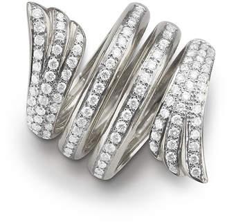 Monica Rich Kosann White Gold Mercury Ring w/ Pave Diamonds