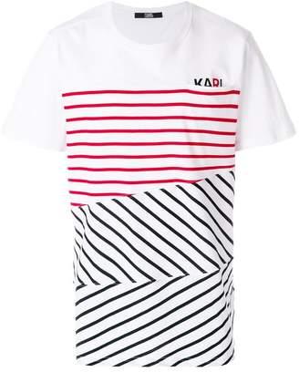 Karl Lagerfeld contrast stripe logo T-shirt