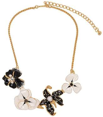 Kenneth Jay Lane Black And White Flower Station Necklace