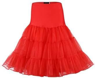 GlowSol Women 50s Petticoat Skirts Boneless Crystal Yarn Tutu Crinoline Underskirt Color:Red Size:S