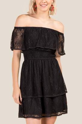 francesca's Shauna Black Lace Off The Shoulder Dress - Black