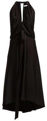 Chloé V Neckline Gathered Satin Midi Dress - Womens - Black