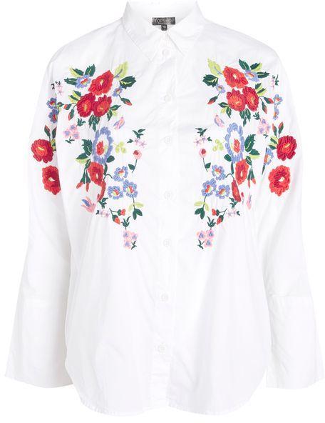 TopshopTopshop Embroidered poplin shirt