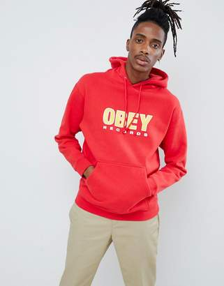 Obey records hoodie in red