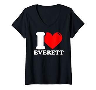 Womens I Love Everett V-Neck T-Shirt