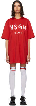 MSGM Red Paint Brushed Logo T-Shirt Dress
