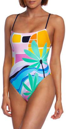 8ddc7c0d58203 Trina Turk Mosaic Sunrise High-Cut One-Piece Swimsuit