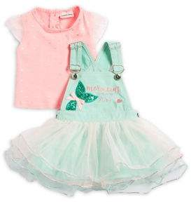 Little Lass Baby Girl's Two-Piece Cotton Top and Mesh Skirtall Set