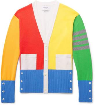 Thom Browne Fun Mix Slim-Fit Colour-Block Striped Cashmere Cardigan