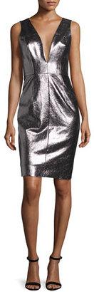 Milly Callie Metallic Leather Sheath Dress, Gunmetal $925 thestylecure.com