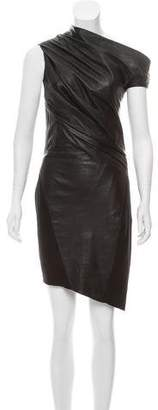 Helmut Lang Leather Ruched Mini Dress
