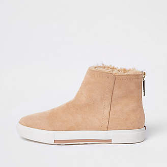 River Island Womens Beige faux fur lined boots