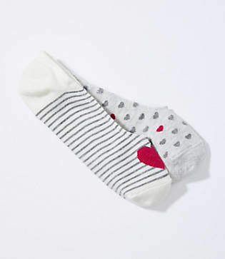 LOFT Heart & Stripe No Show Sock Set