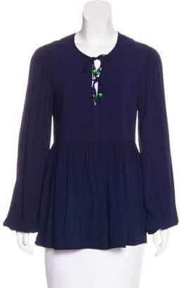 Elizabeth and James Long Sleeve Bead-Accented Blouse
