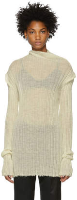 Ann Demeulemeester White Ribbed Turtleneck