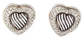 David Yurman Diamond Cable Heart Earclips