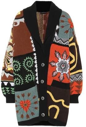 Etro Oversized patchwork wool cardigan