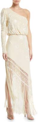 Johanna Ortiz One-Shoulder Floral Jacquard Fringed Dress