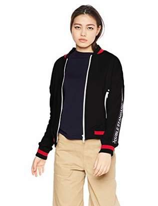 Double Standard Clothing (ダブル スタンダード クロージング) - [ダブルスタンダードクロージング] 袖ラインロゴ入りジップアップブルゾン レディース 0205-220-191 ブラック 日本 36 (日本サイズ7 号相当)
