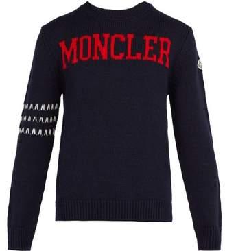 Moncler 2 1952 - Logo Knit Wool Sweater - Mens - Navy