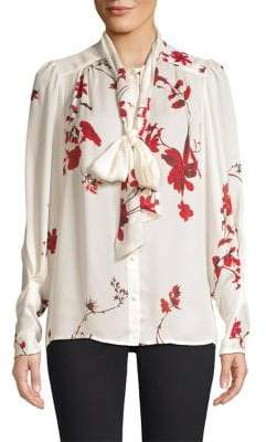 Joie Angeletta Floral-Print Silk Blouse