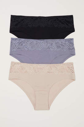 H&M 3-pack Cotton Hipster Briefs - Dusky green/white - Women