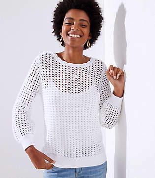 LOFT Petite Open Stitch Sweater