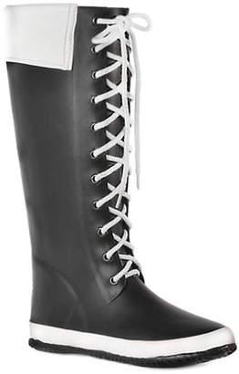 dav Coachella Faux Fur-Trimmed Rubber Boots