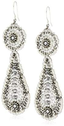 Miguel Ases Pyrite Bead and Sterling Silver Contrast Station Earrings