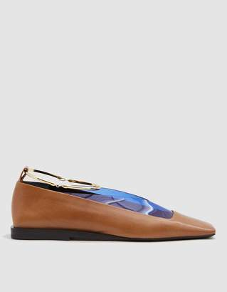 Jil Sander Tripon Mixed Material Loafer with Gold Ring