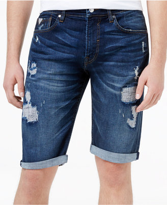 "GUESS Men's Denim Ripped 14"" Stretch Shorts $89 thestylecure.com"