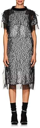 Sacai Women's Sequin-Embellished Ruffled Short-Sleeve Dress