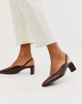 And other stories & croc print square toe kitten heel sling back shoes in brown