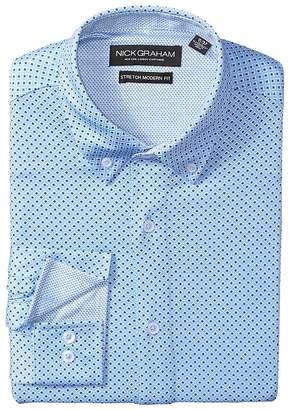 Nick Graham Circle Prints w/ Black Dots Knit Shirt Men's Long Sleeve Button Up