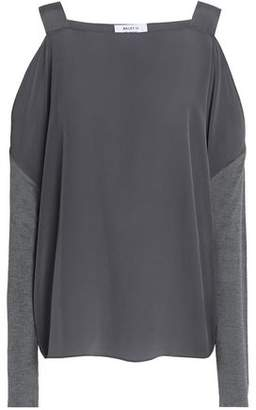 Bailey 44 Fencing Cold-Shoulder Jersey-Paneled Silk Crepe De Chine Top