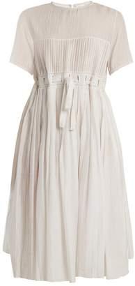 Thierry Colson Jours De Venise Pleated Cotton Blend Midi Dress - Womens - White