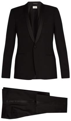 Saint Laurent Shawl Collar Satin Trimmed Wool Tuxedo - Mens - Black