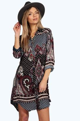 boohoo Paisley Border Print Shirt Dress