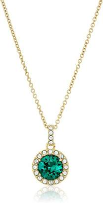 Swarovski Yellow Gold Plated Sterling Silver Emerald Color made with Crystal Pendant Necklace