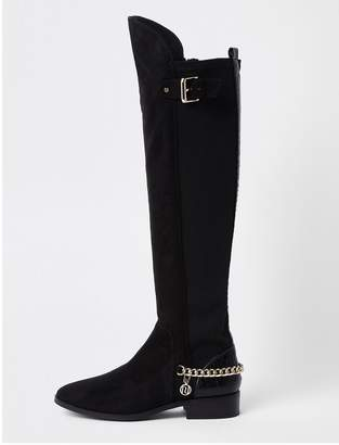 458d552c7eb River Island Wide Fit Chain Detail Knee High Boot - Black