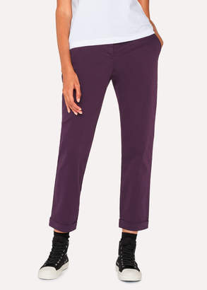 Paul Smith Women's Aubergine Brushed Cotton-Stretch Chinos