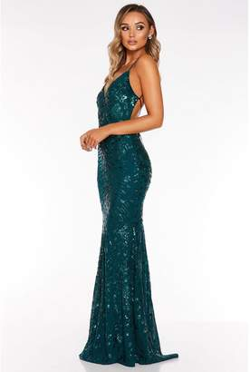Quiz Green Sequin Lace Back Fishtail Maxi Dress