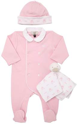 Armani Junior Cotton Jersey Romper, Hat & Toy Blanket